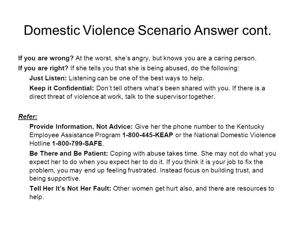 Domestic Violence Scenario Answer cont.