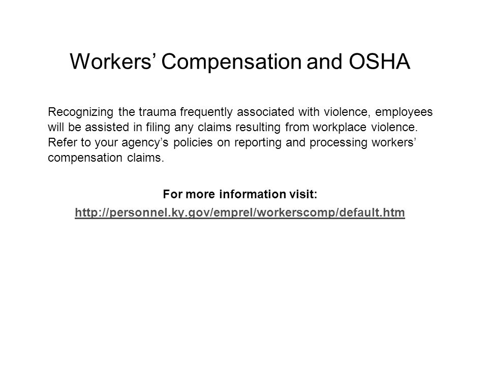 Workers' Compensation and OSHA