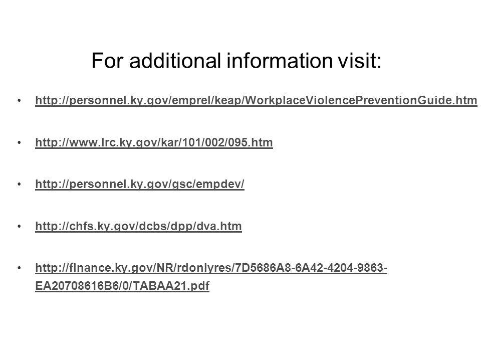 For additional information visit: