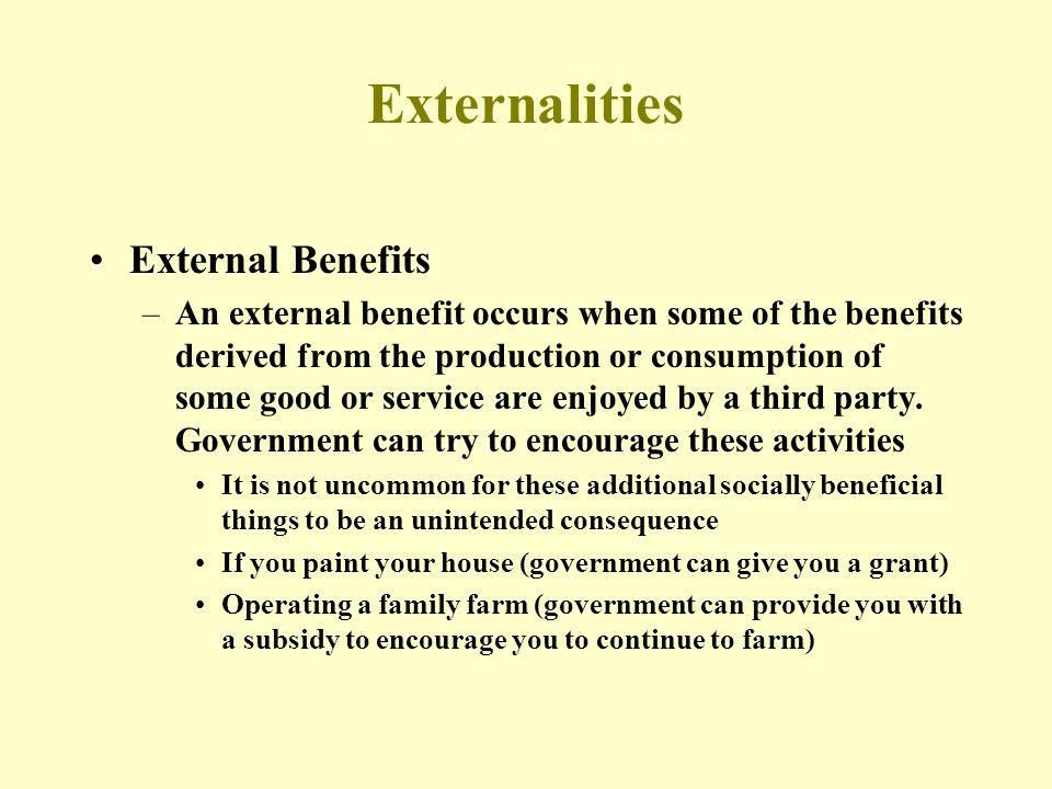 Externalities External Benefits