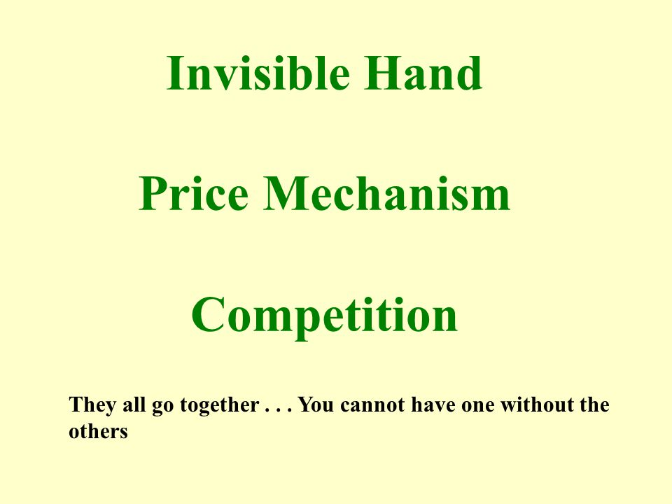 Invisible Hand Price Mechanism Competition