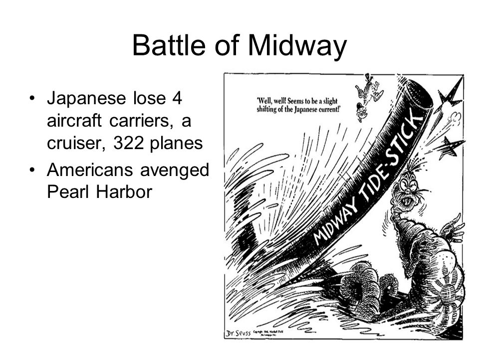 Battle of Midway Japanese lose 4 aircraft carriers, a cruiser, 322 planes.