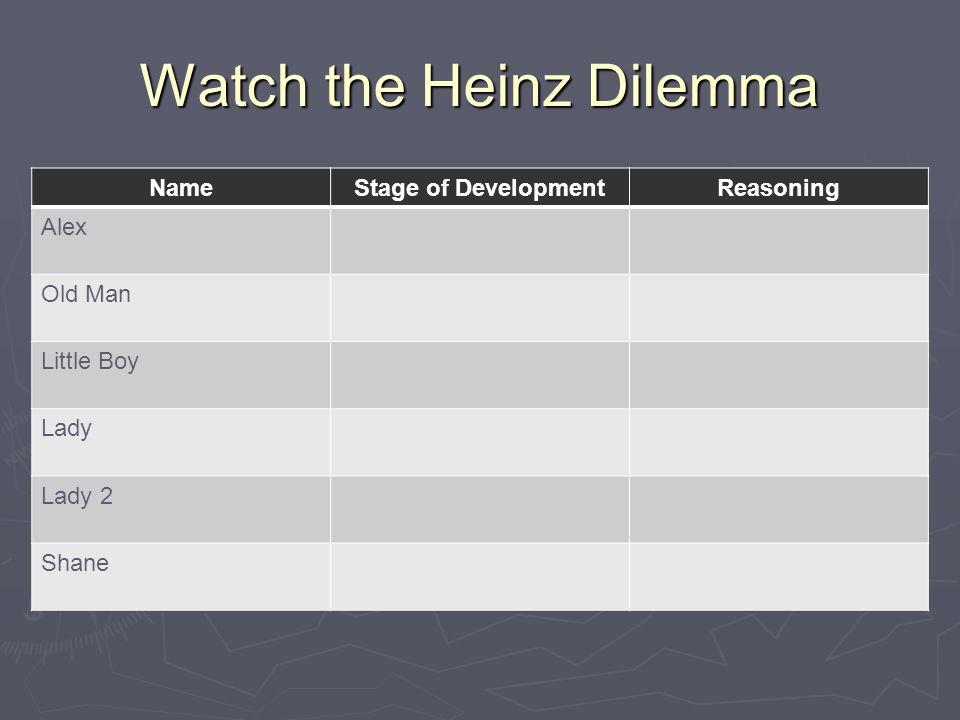 Watch the Heinz Dilemma