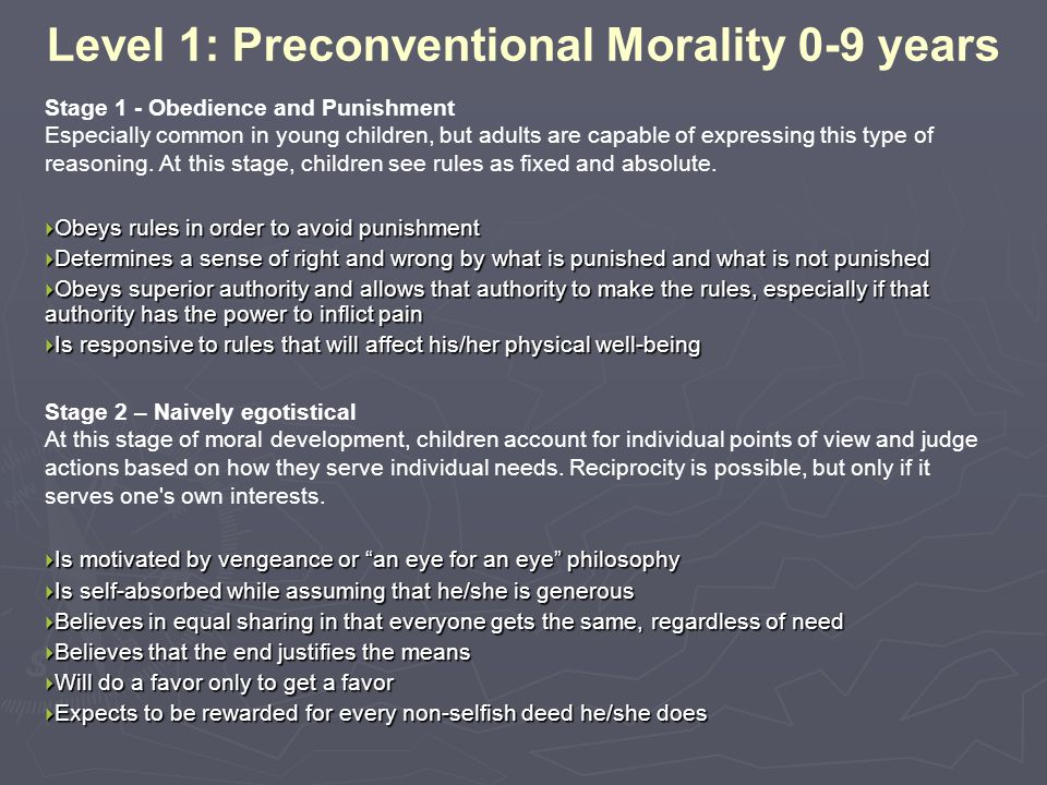 Level 1: Preconventional Morality 0-9 years