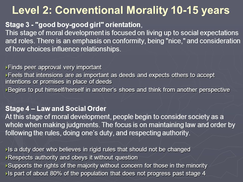 Level 2: Conventional Morality 10-15 years