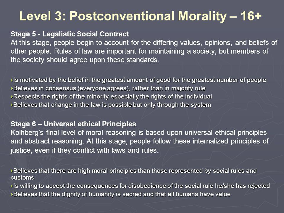 Level 3: Postconventional Morality – 16+