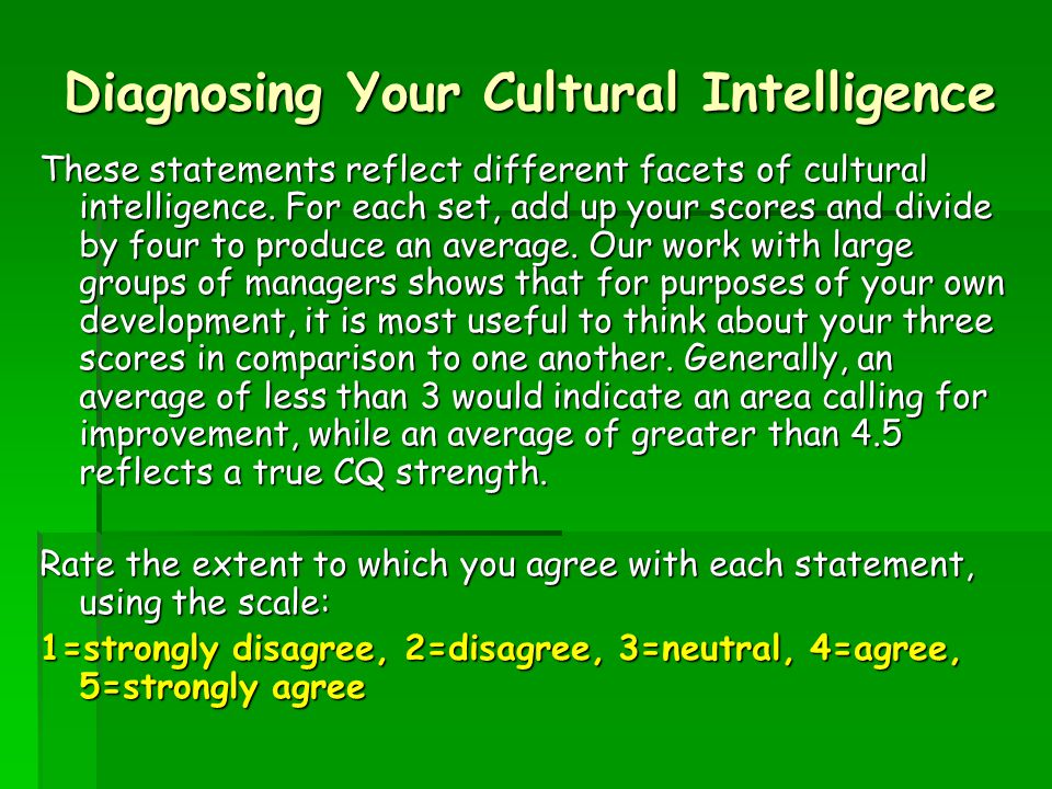 Diagnosing Your Cultural Intelligence