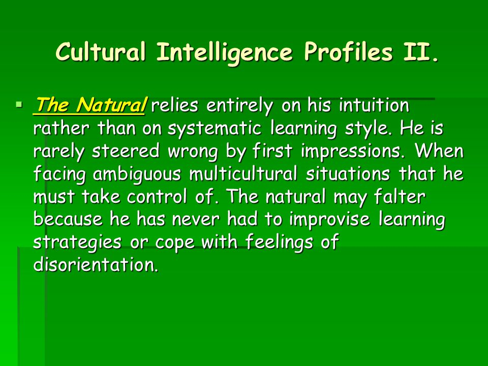 Cultural Intelligence Profiles II.