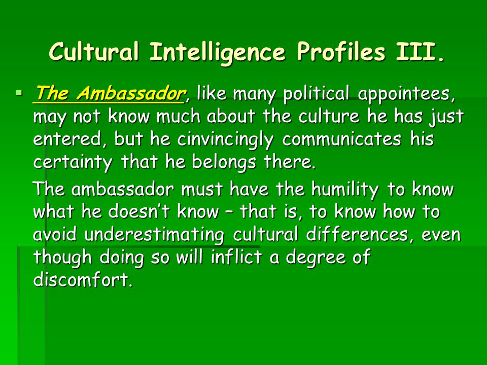 Cultural Intelligence Profiles III.