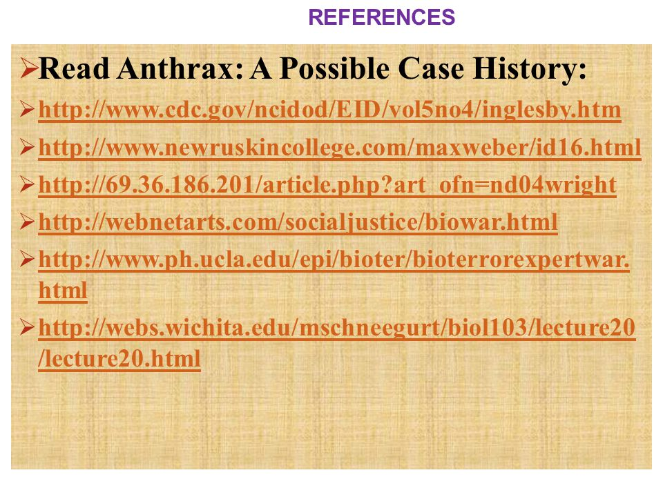 Read Anthrax: A Possible Case History: