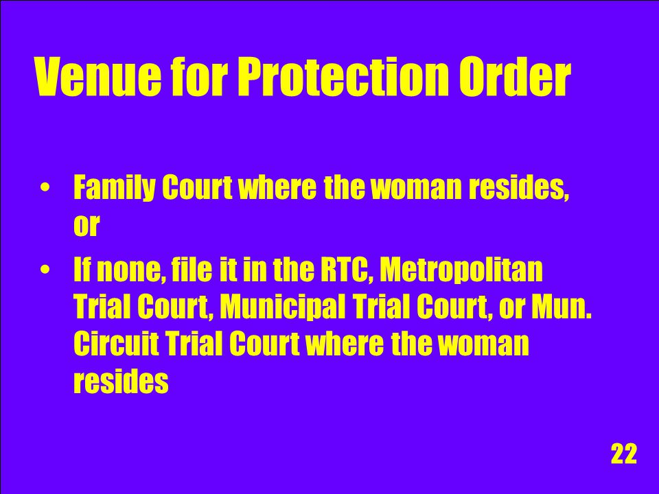 Venue for Protection Order