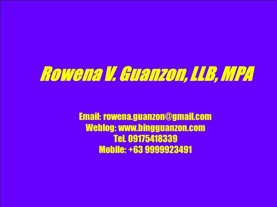 Rowena V. Guanzon, LLB, MPA Email: rowena. guanzon@gmail