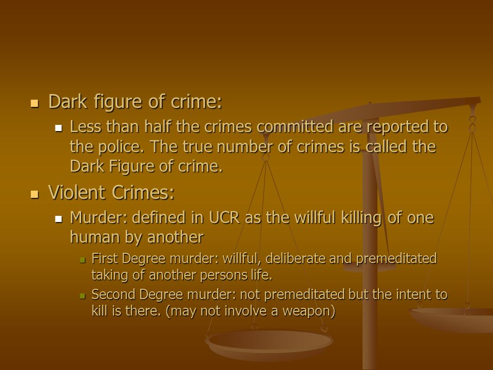 Dark figure of crime: Violent Crimes: