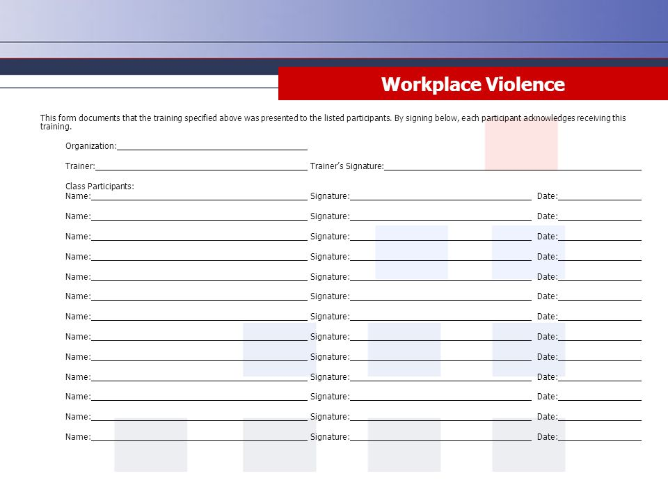 Workplace Violence Documents Risk Management Center Location