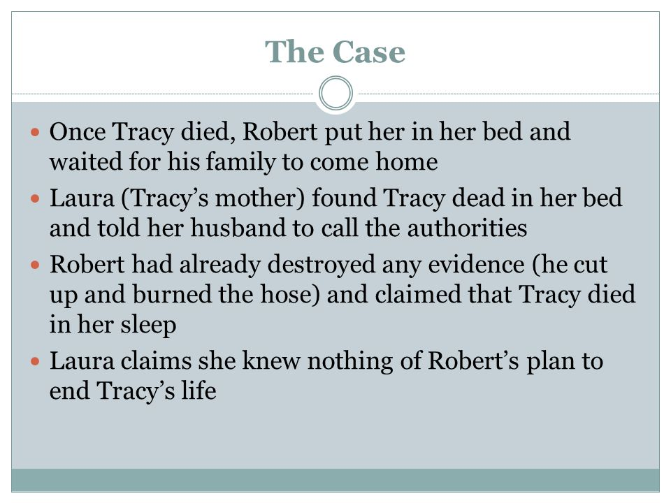 The Case Once Tracy died, Robert put her in her bed and waited for his family to come home.
