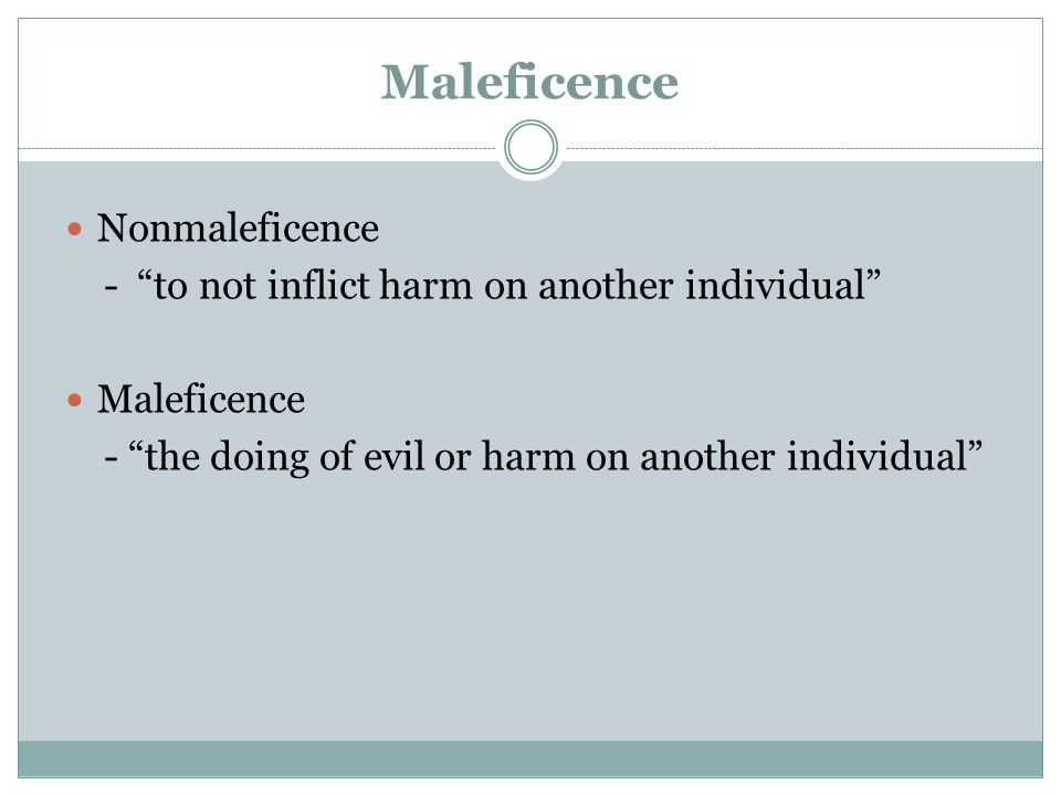 Maleficence Nonmaleficence