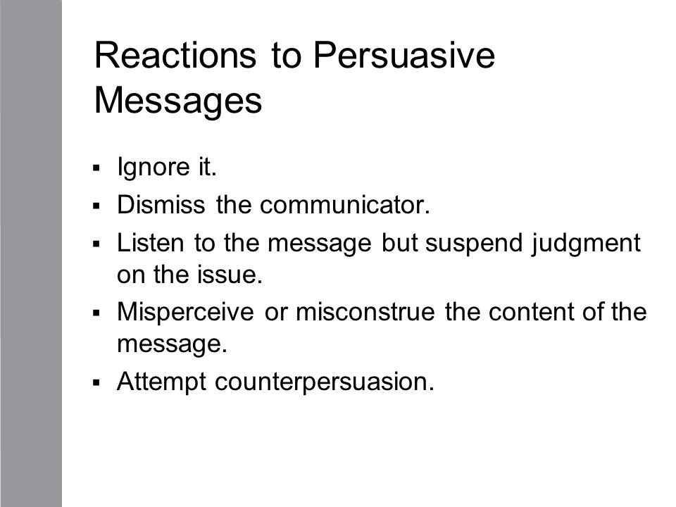 Reactions to Persuasive Messages
