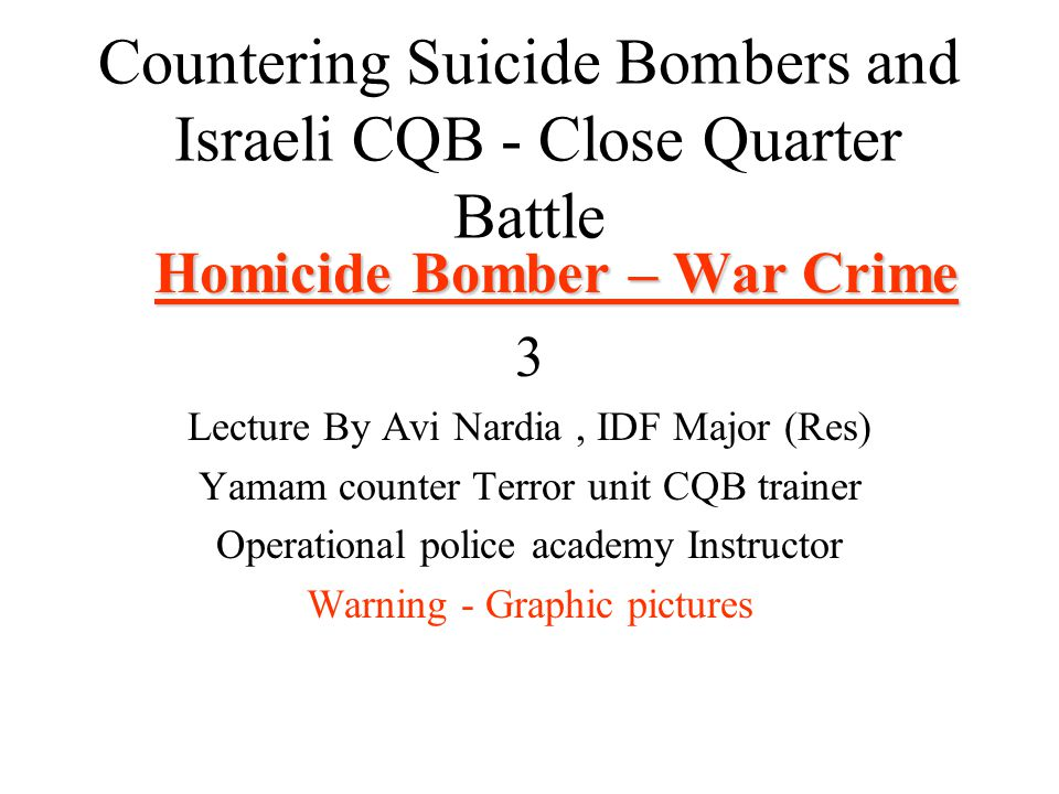 Countering Suicide Bombers and Israeli CQB - Close Quarter Battle