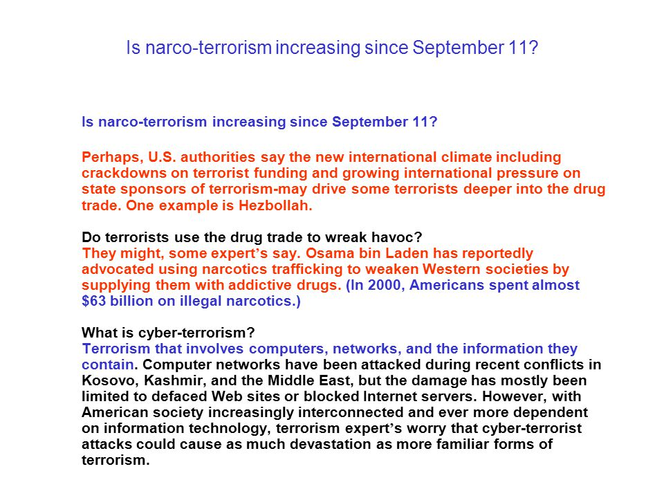 Is narco-terrorism increasing since September 11