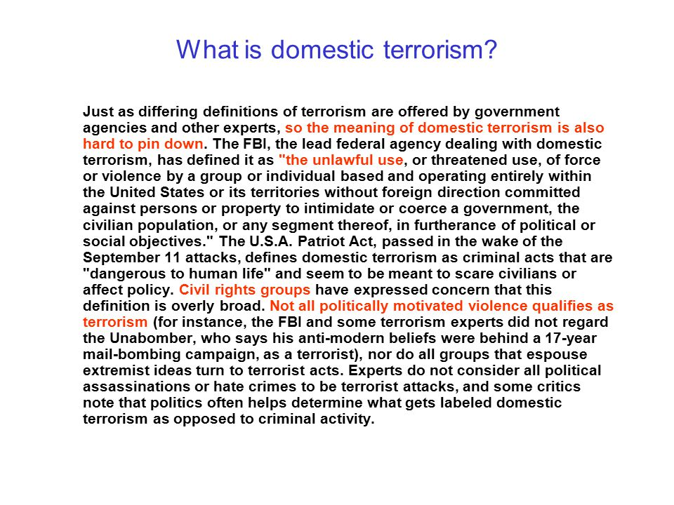 What is domestic terrorism