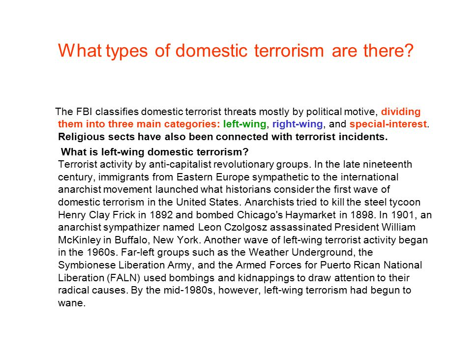 Different kinds of terrorism