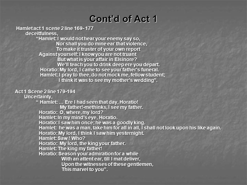 Cont'd of Act 1