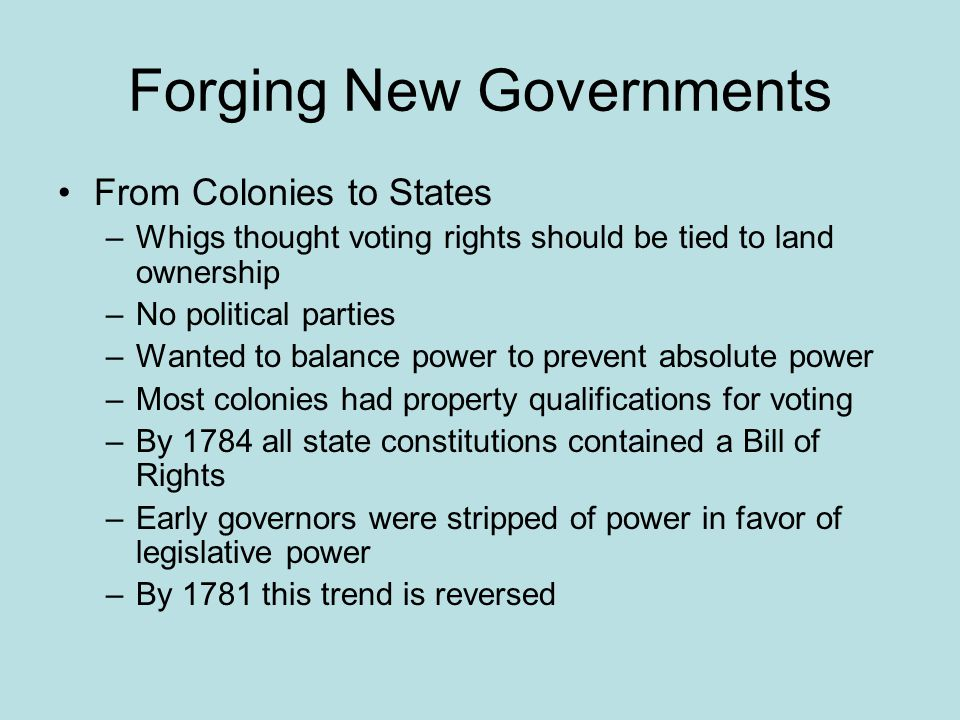 Forging New Governments