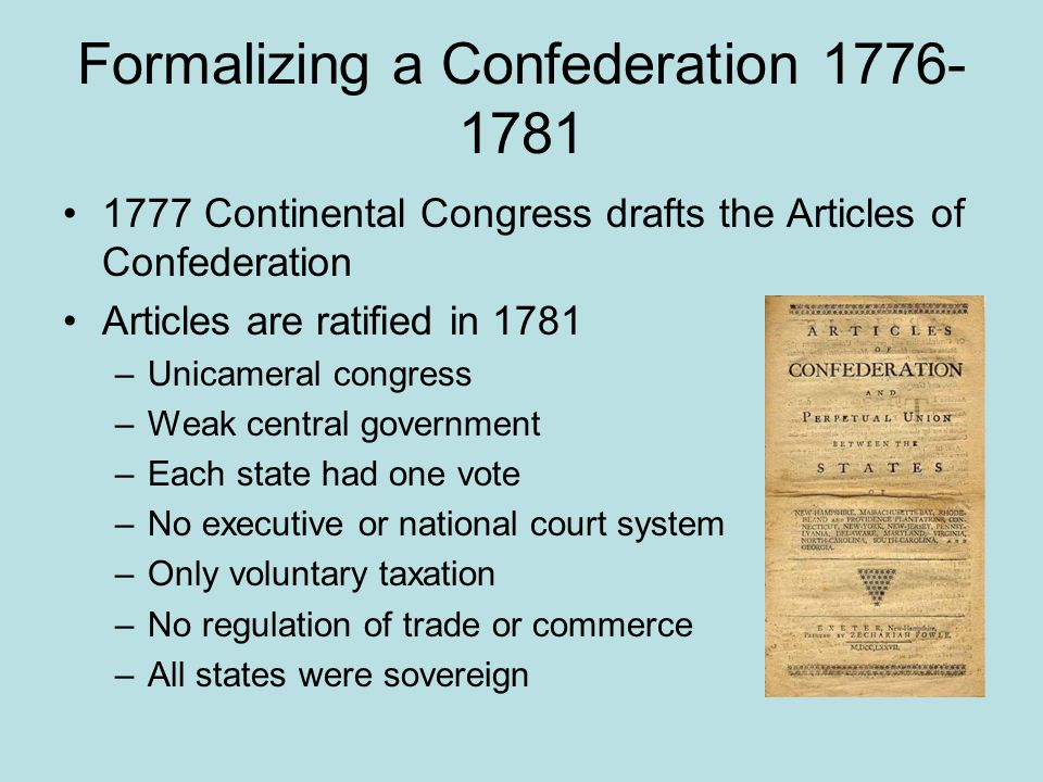 Formalizing a Confederation 1776-1781