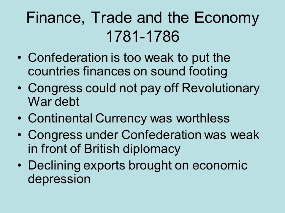 Finance, Trade and the Economy 1781-1786