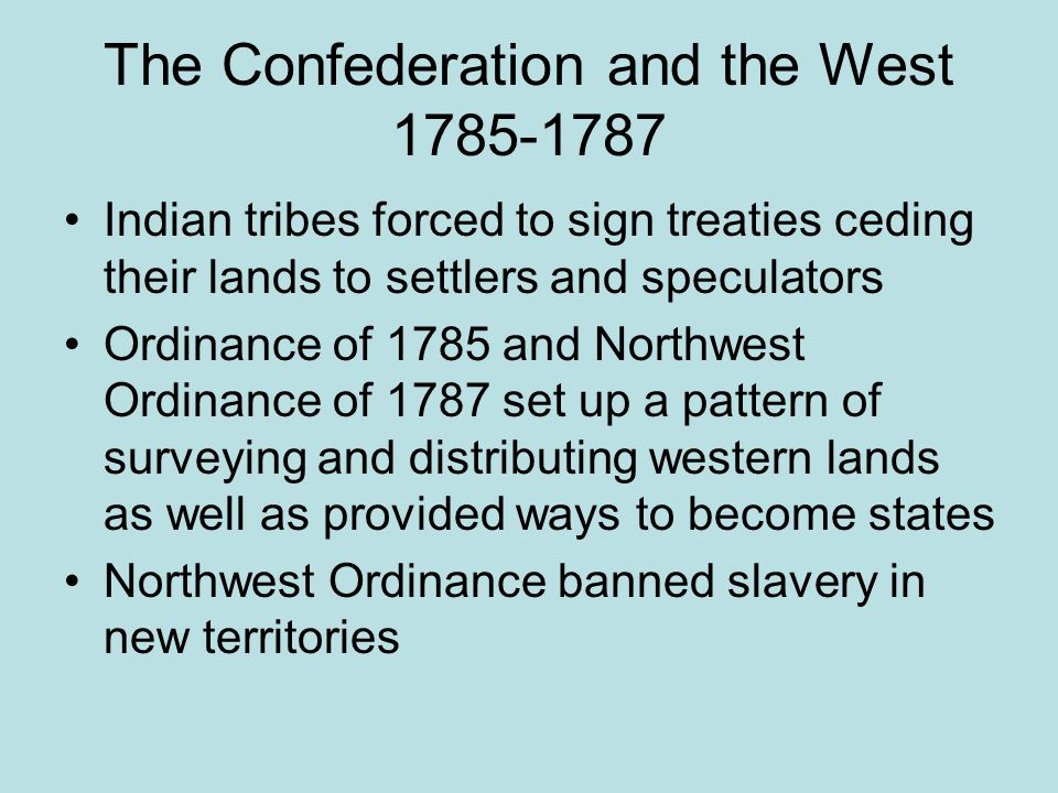 The Confederation and the West 1785-1787