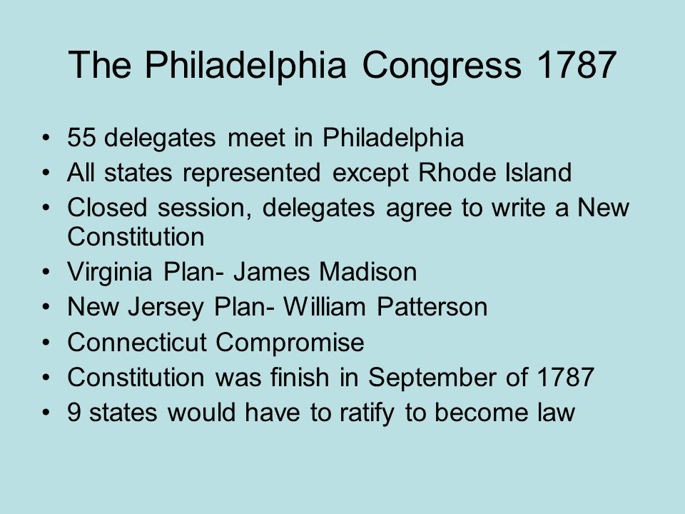 The Philadelphia Congress 1787