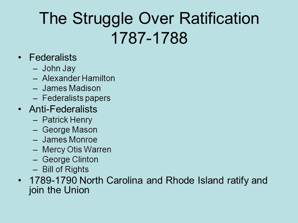 The Struggle Over Ratification 1787-1788