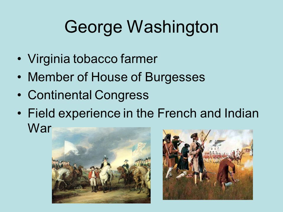 George Washington Virginia tobacco farmer Member of House of Burgesses