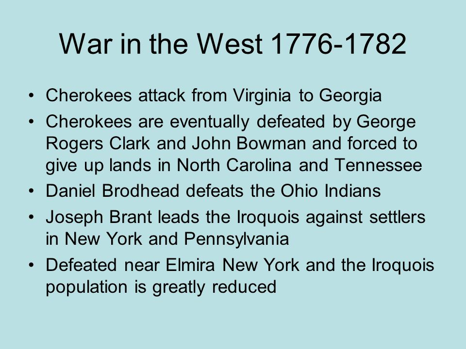 War in the West 1776-1782 Cherokees attack from Virginia to Georgia
