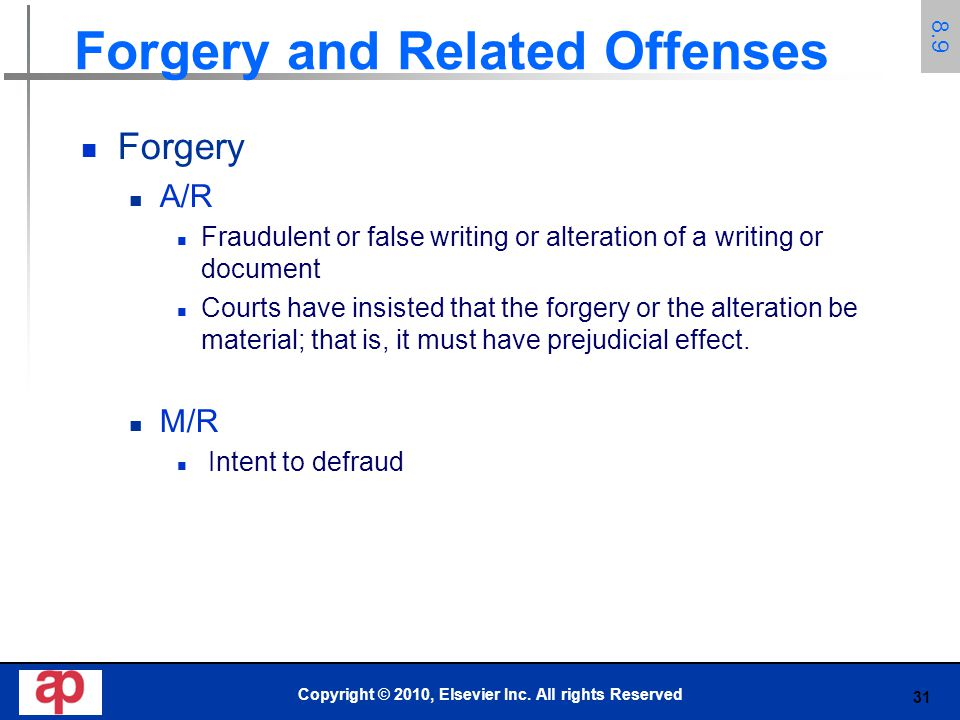 Forgery and Related Offenses
