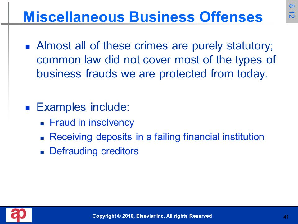 Miscellaneous Business Offenses
