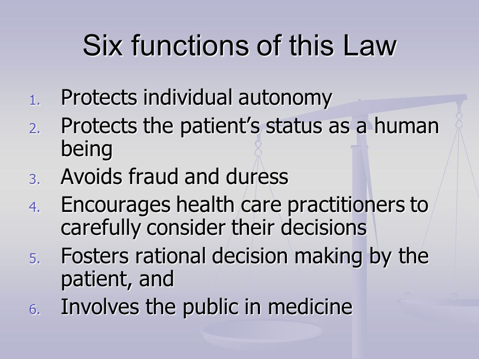 Six functions of this Law