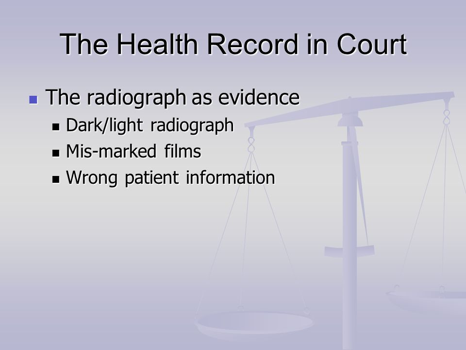 The Health Record in Court