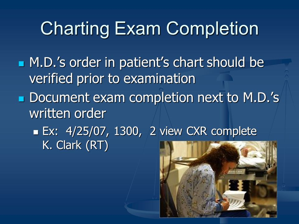 Charting Exam Completion