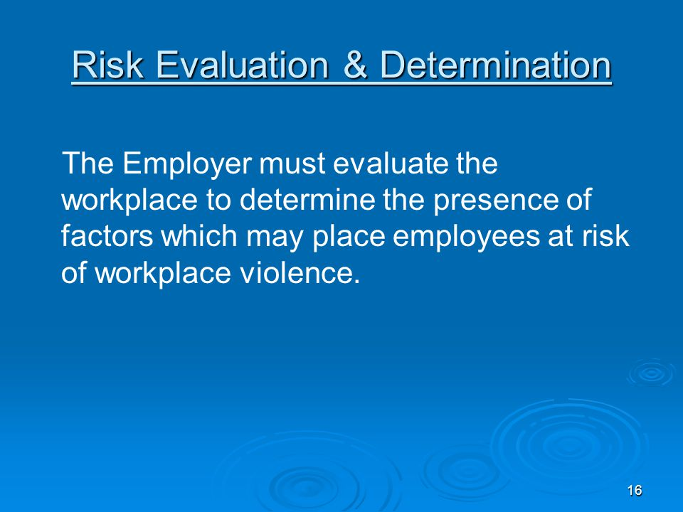 Risk Evaluation & Determination