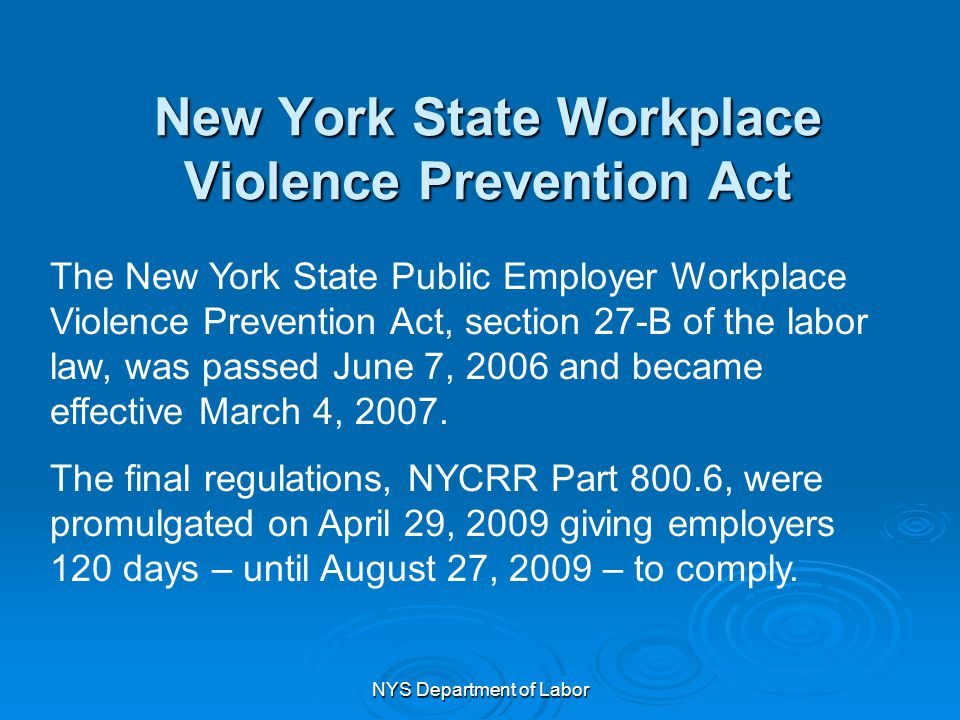 New York State Workplace Violence Prevention Act