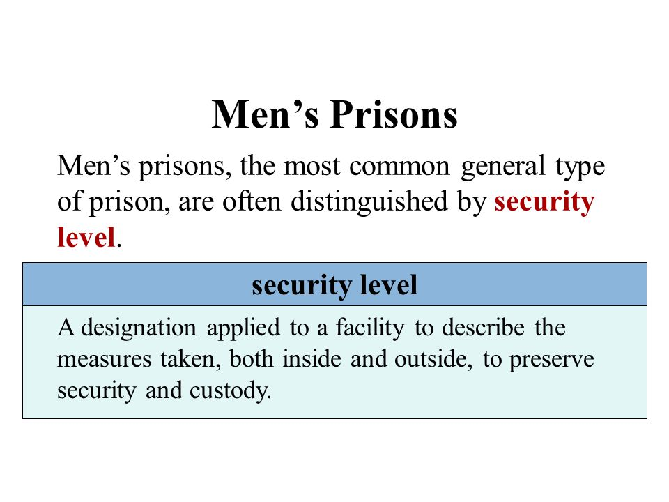 Men's Prisons Men's prisons, the most common general type of prison, are often distinguished by security level.