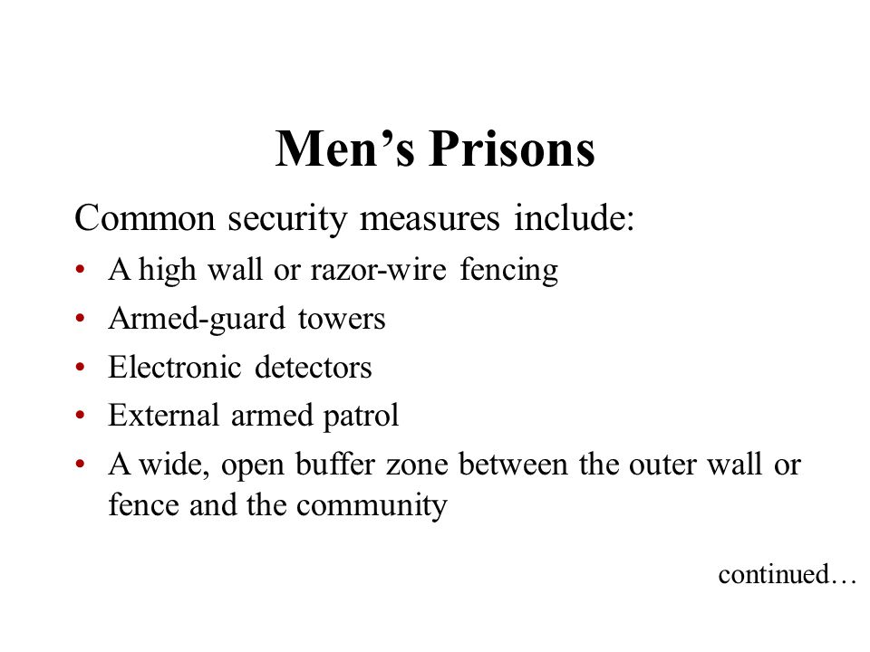 Men's Prisons Common security measures include: