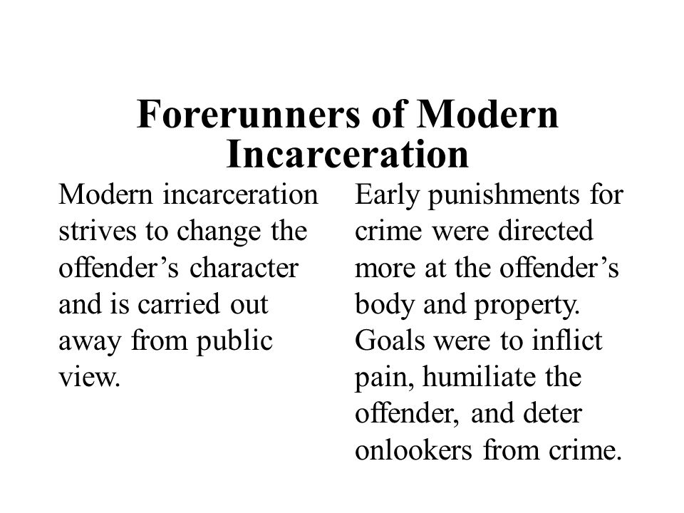 Forerunners of Modern Incarceration