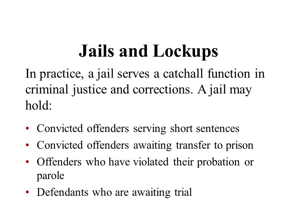 Jails and Lockups In practice, a jail serves a catchall function in criminal justice and corrections. A jail may hold: