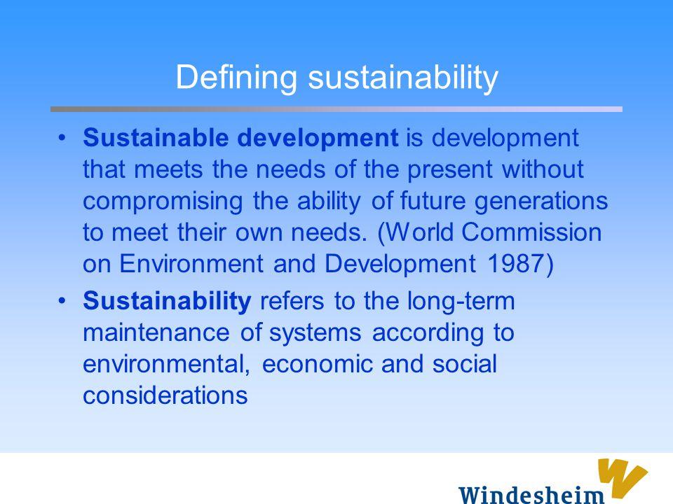 Defining sustainability