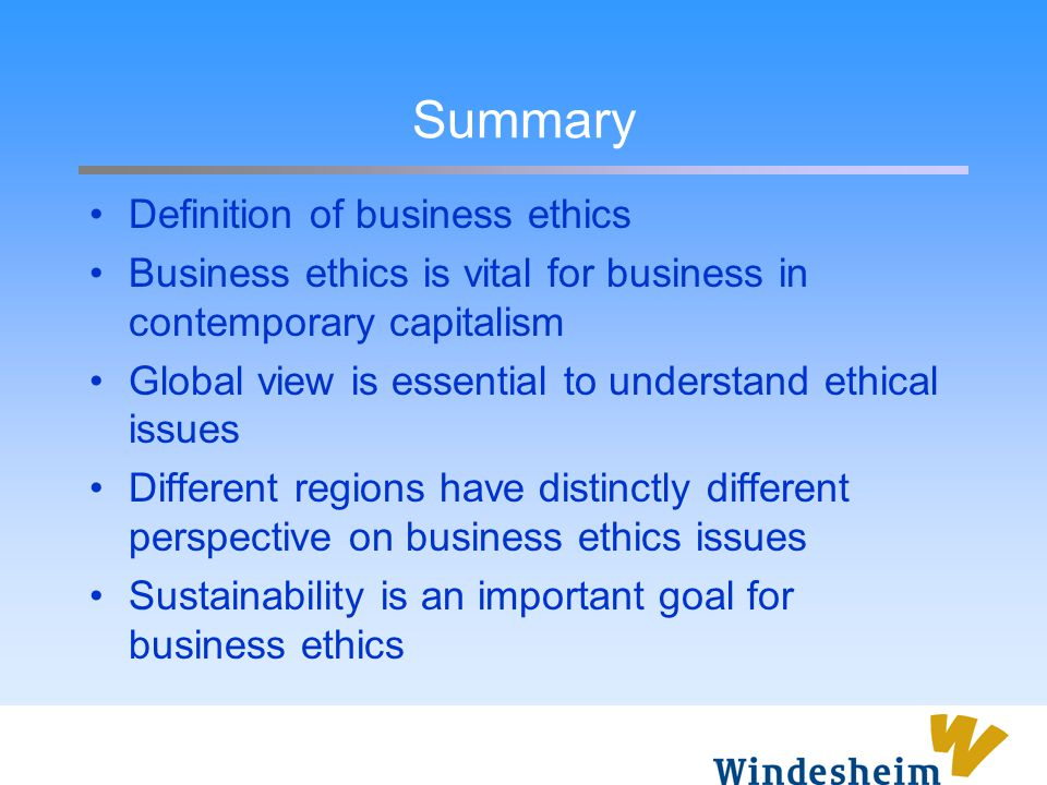 Summary Definition of business ethics