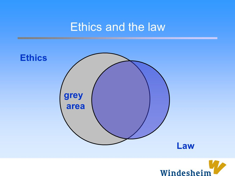 Ethics and the law Ethics grey area Law