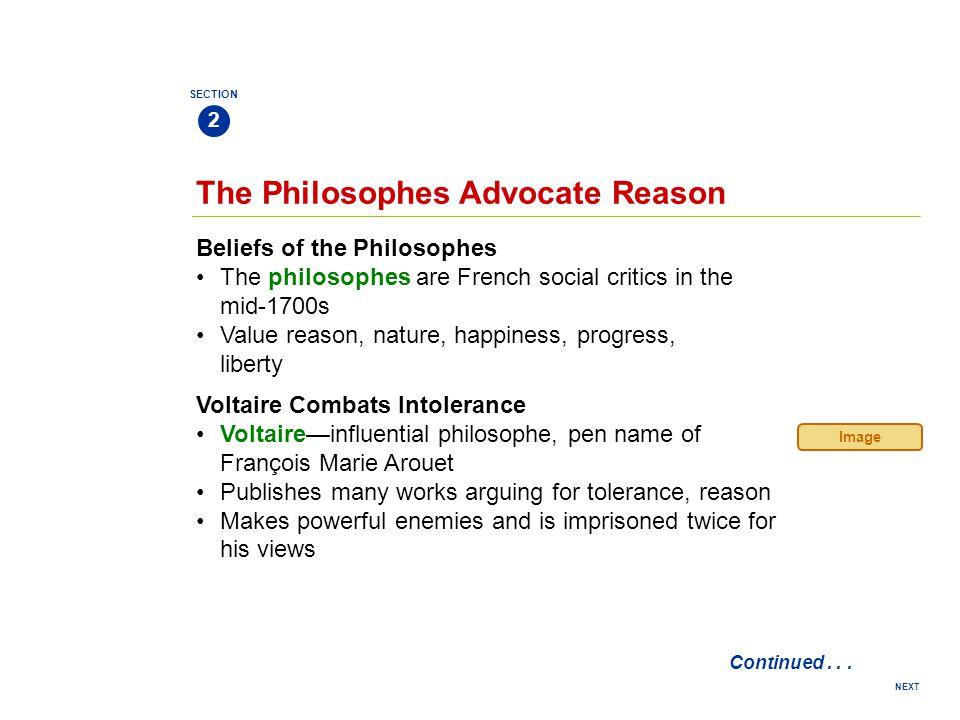 The Philosophes Advocate Reason