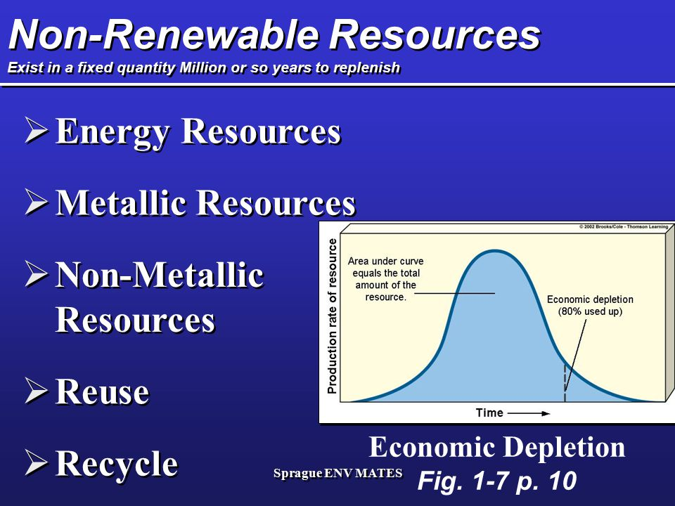 Non-Renewable Resources Exist in a fixed quantity Million or so years to replenish
